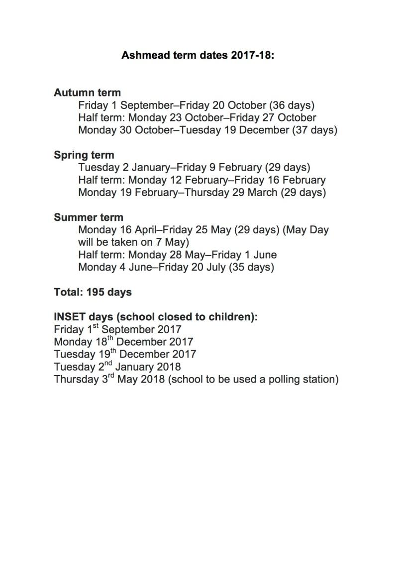 ashmead-term-dates-2017-18