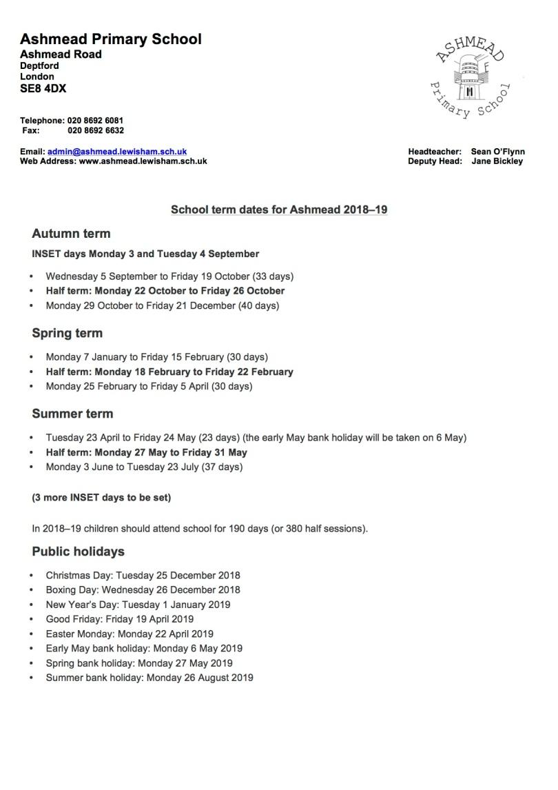 Term dates 2018-19