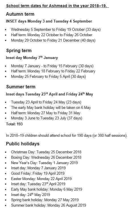 term dates ashmead primary school